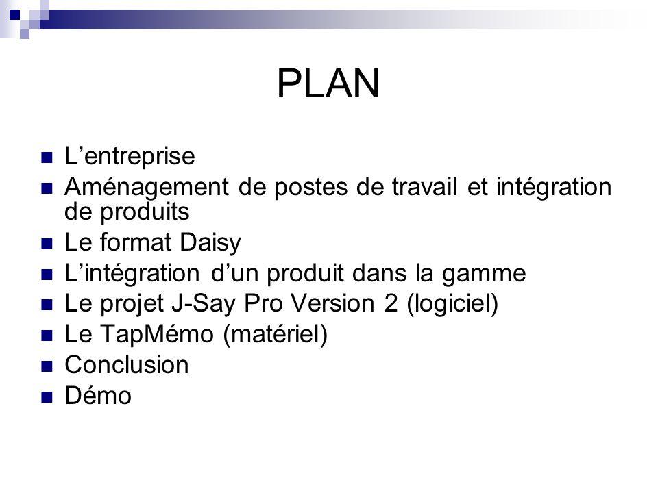 PLAN L'entreprise. Aménagement de postes de travail et intégration de produits. Le format Daisy. L'intégration d'un produit dans la gamme.