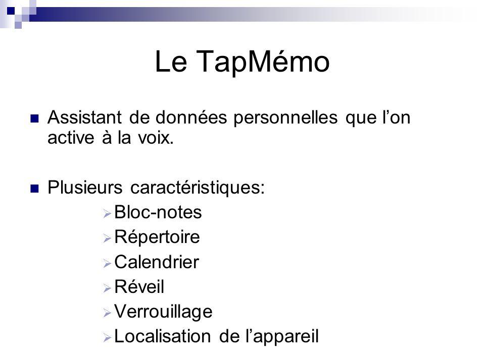 Le TapMémo Assistant de données personnelles que l'on active à la voix. Plusieurs caractéristiques:
