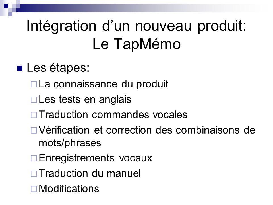 Intégration d'un nouveau produit: Le TapMémo