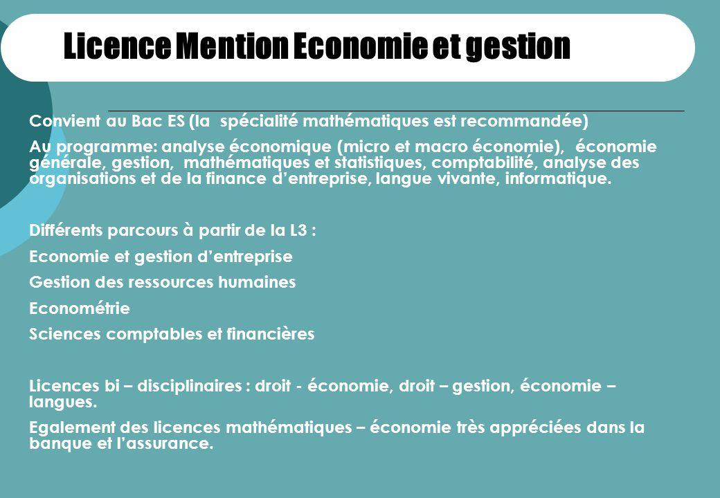 Licence Mention Economie et gestion