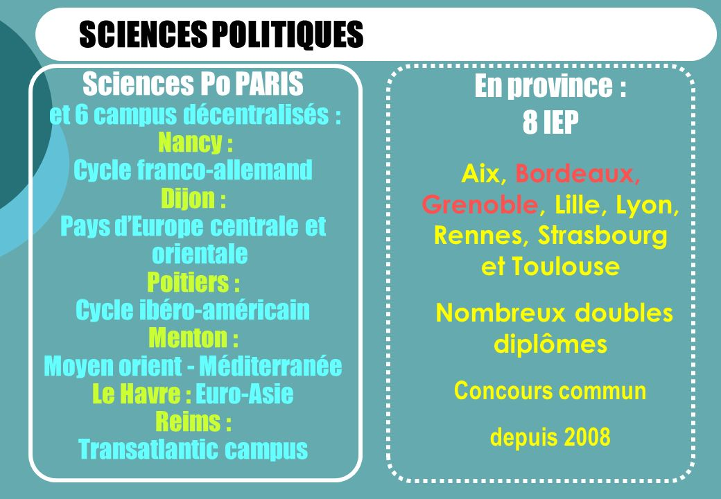 SCIENCES POLITIQUES Sciences Po PARIS En province : 8 IEP
