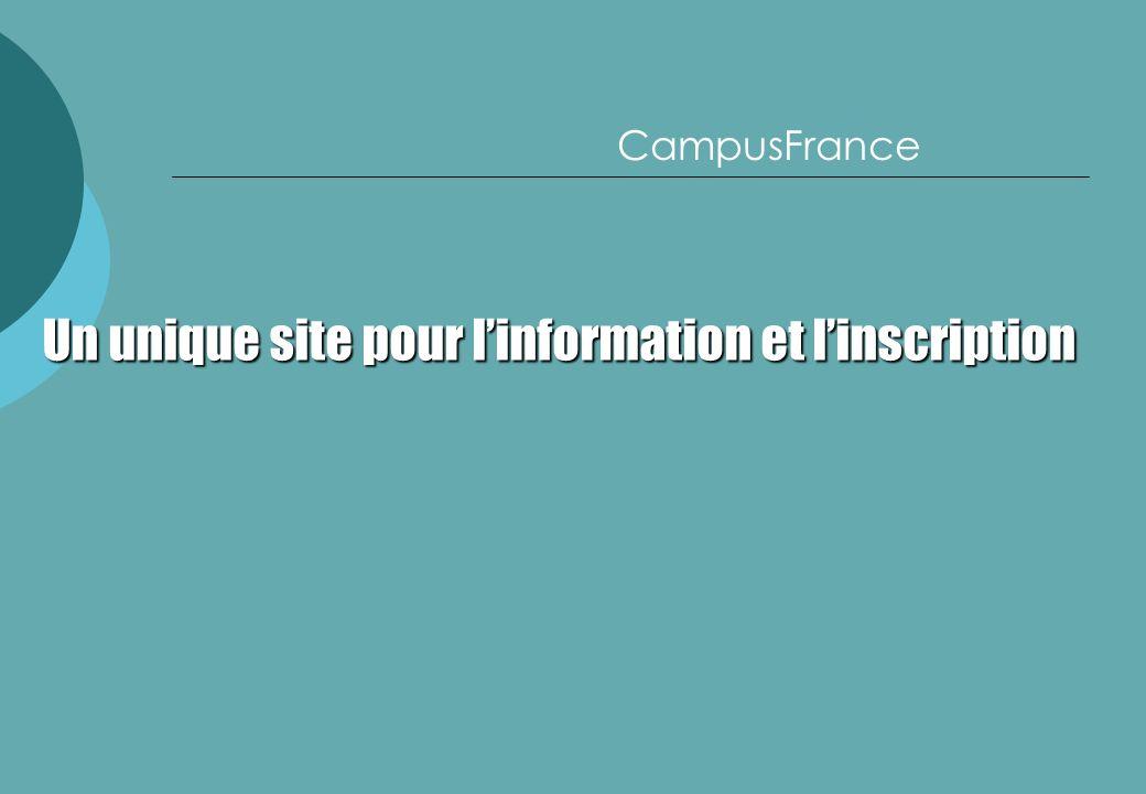 Un unique site pour l'information et l'inscription