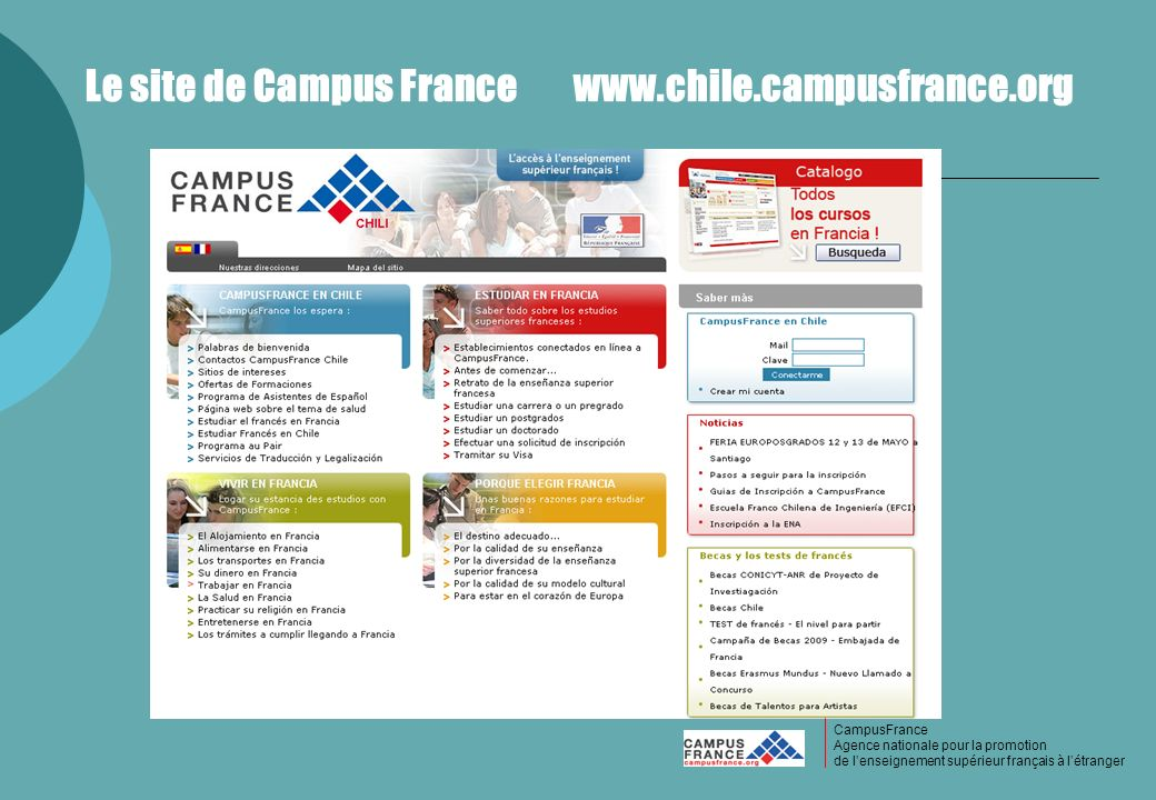 Le site de Campus France www.chile.campusfrance.org