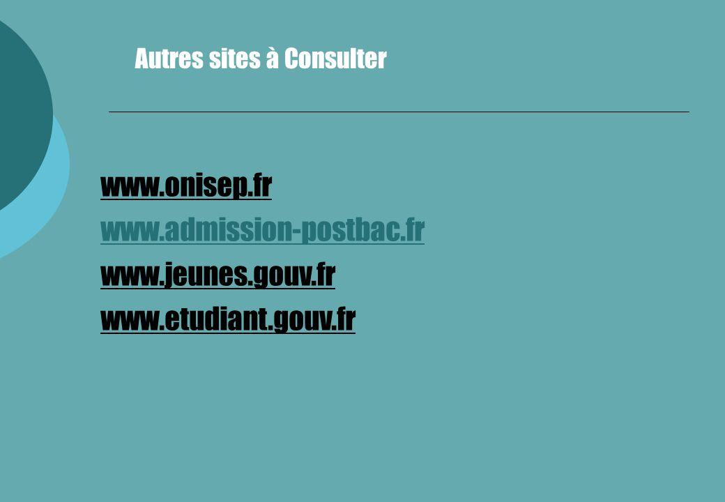 www.onisep.fr www.admission-postbac.fr www.jeunes.gouv.fr