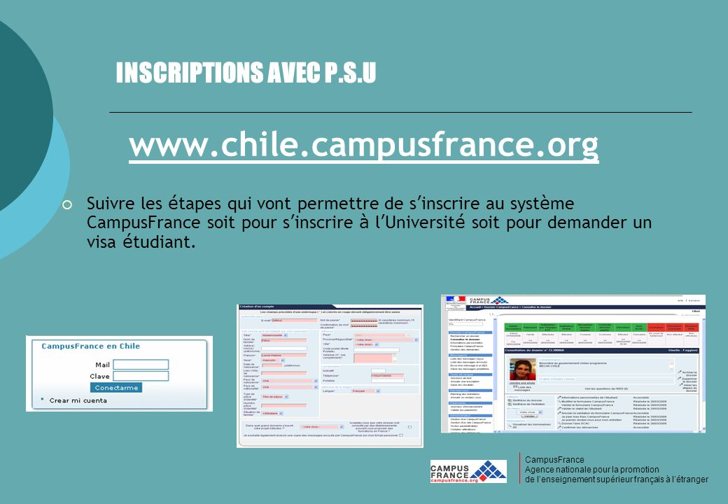 www.chile.campusfrance.org INSCRIPTIONS AVEC P.S.U