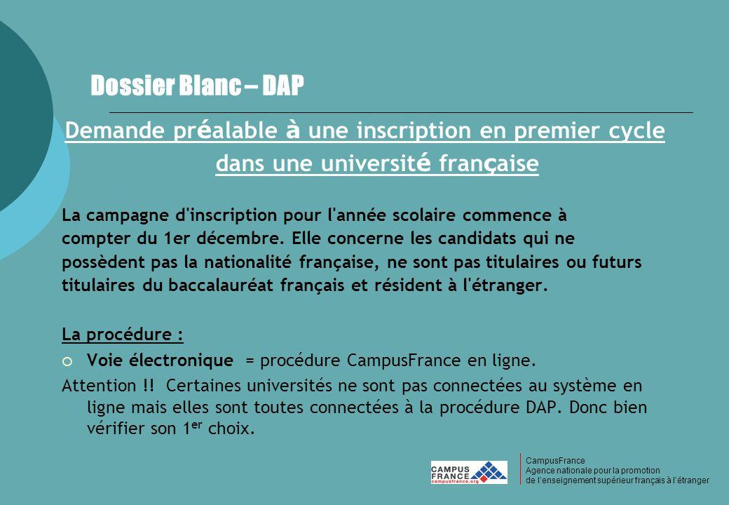 CampusFrance Dossier Blanc – DAP. Demande préalable à une inscription en premier cycle dans une université française.