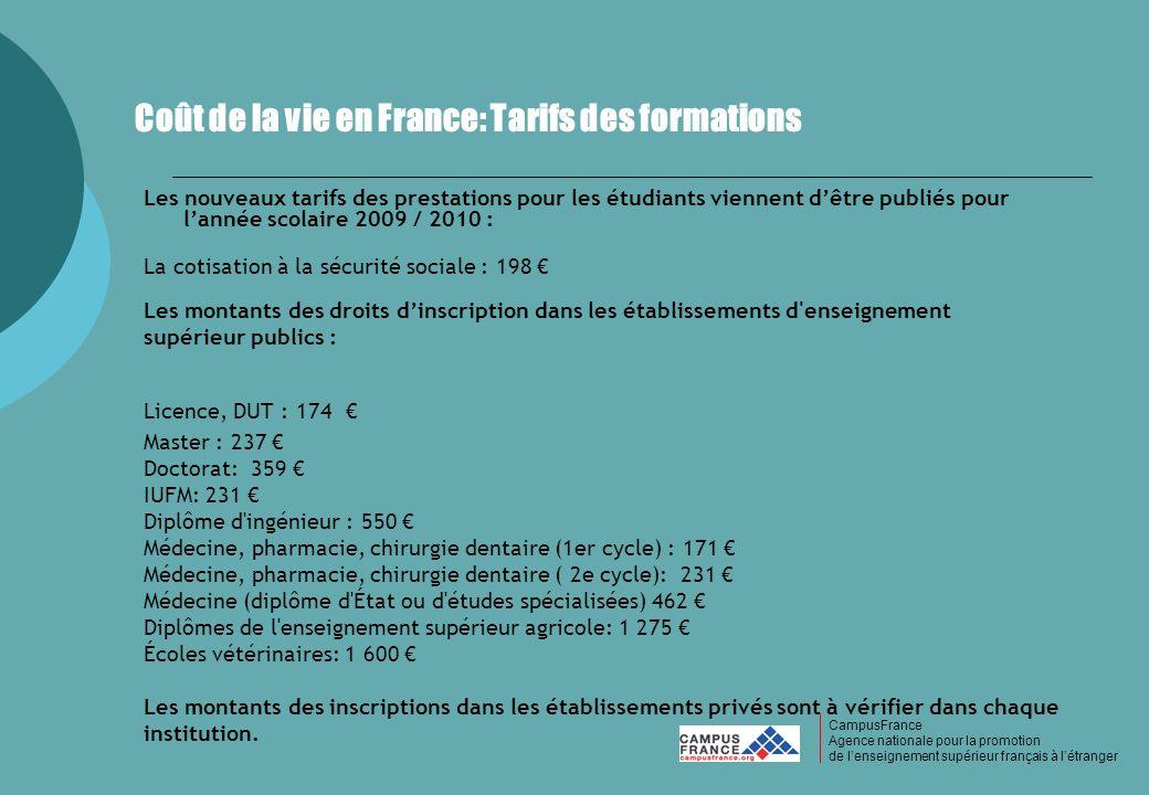 Coût de la vie en France: Tarifs des formations