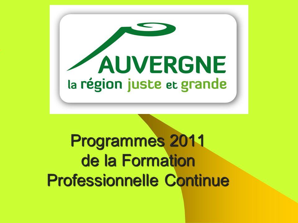 Programmes 2011 de la Formation Professionnelle Continue