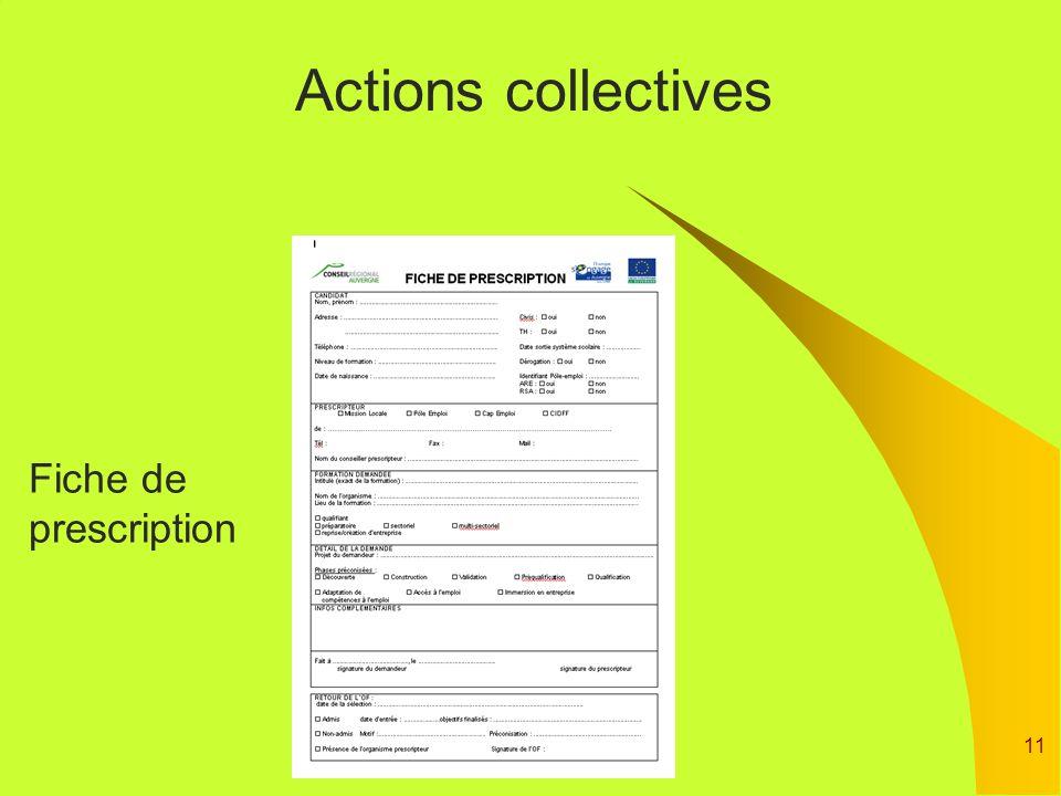 Actions collectives Fiche de prescription