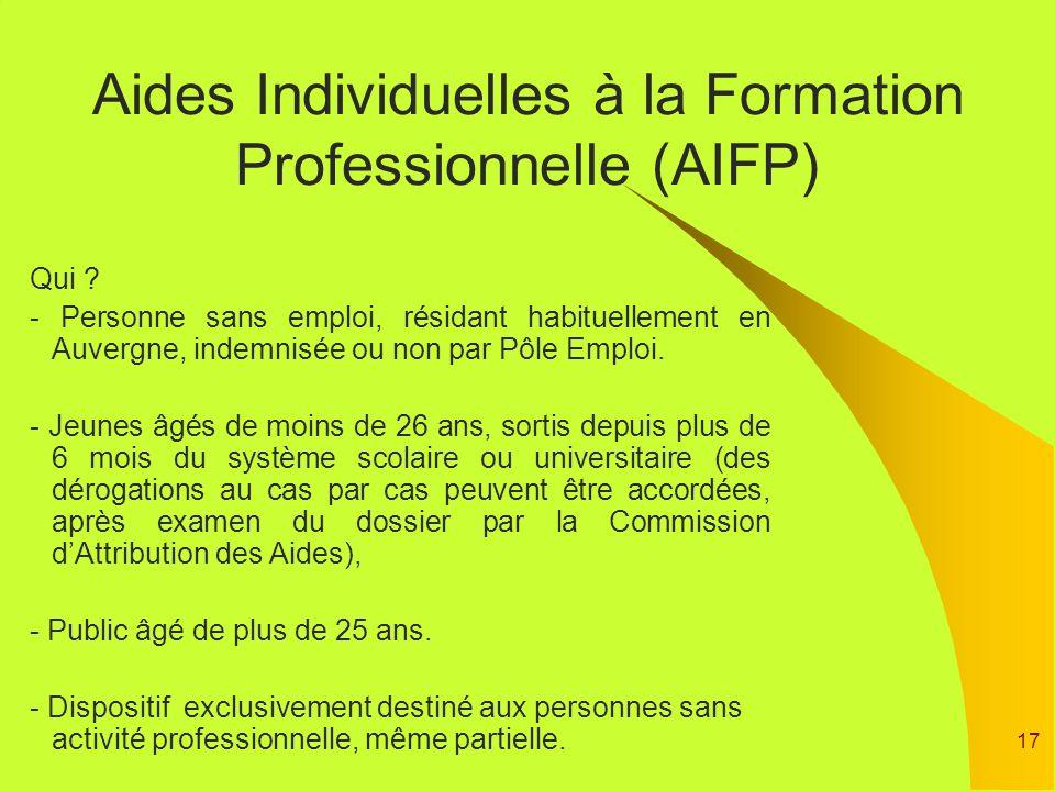 Aides Individuelles à la Formation Professionnelle (AIFP)