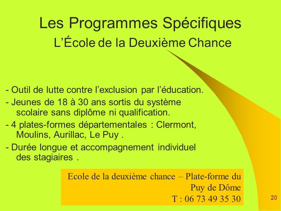Les Programmes Spécifiques L'École de la Deuxième Chance