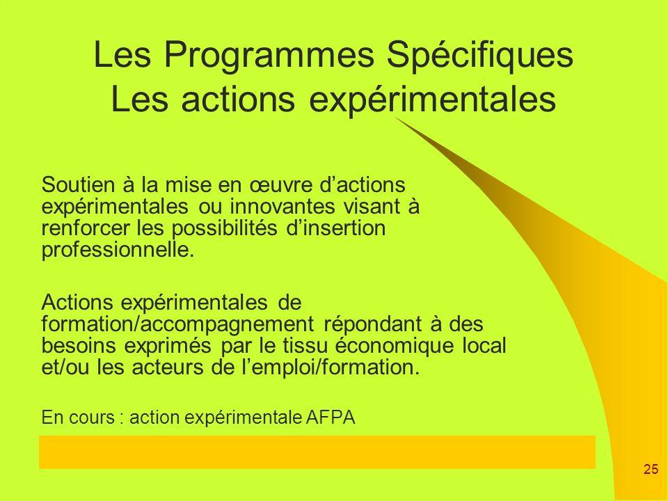 Les Programmes Spécifiques Les actions expérimentales