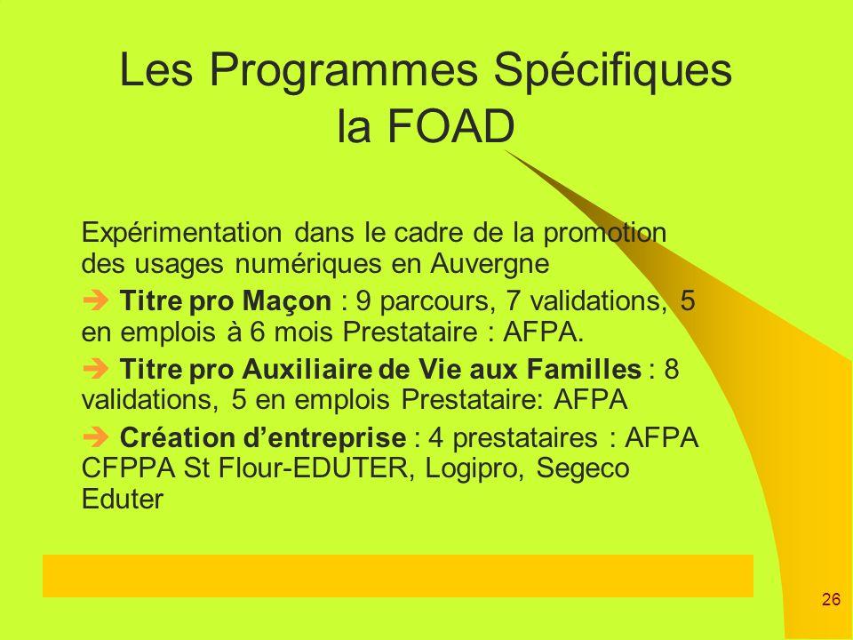 Les Programmes Spécifiques la FOAD