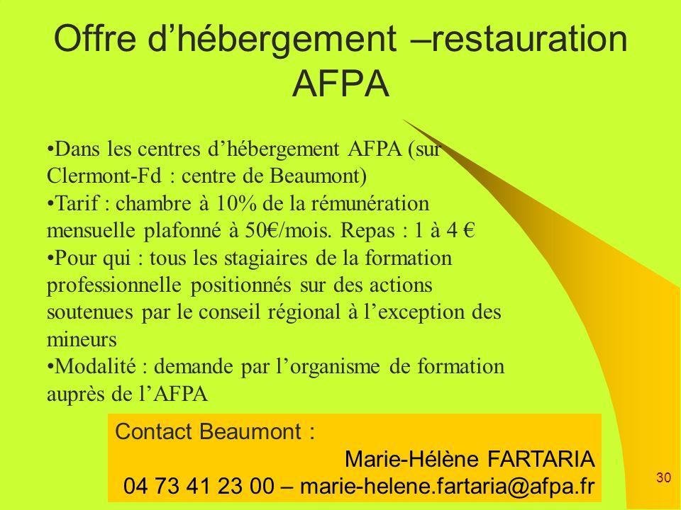 Offre d'hébergement –restauration AFPA