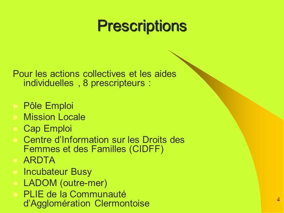 Prescriptions Pour les actions collectives et les aides individuelles , 8 prescripteurs : Pôle Emploi.