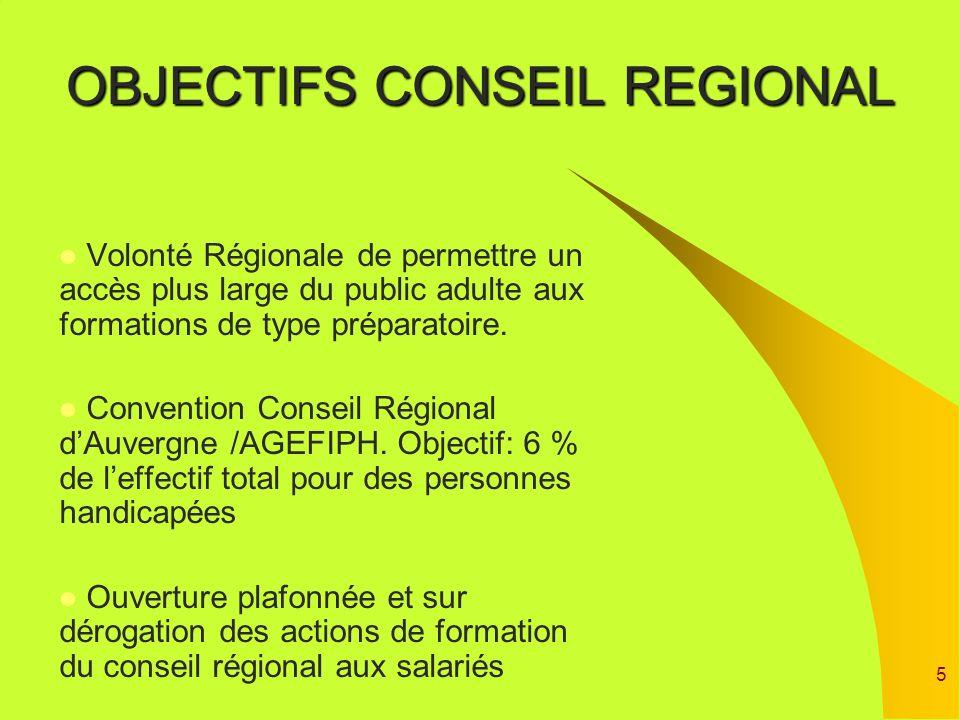OBJECTIFS CONSEIL REGIONAL