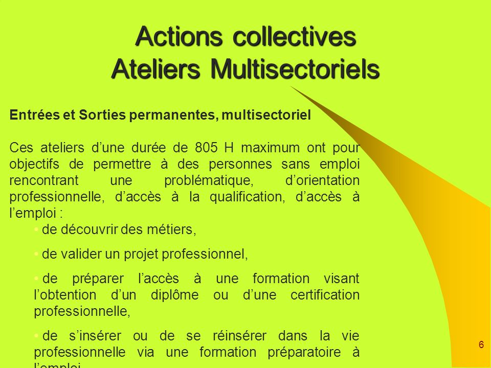 Actions collectives Ateliers Multisectoriels