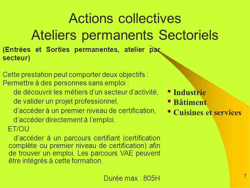 Actions collectives Ateliers permanents Sectoriels