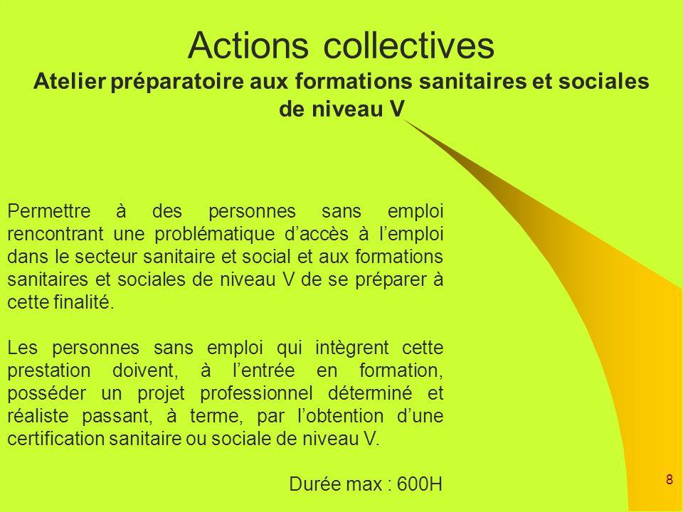 Actions collectives Atelier préparatoire aux formations sanitaires et sociales de niveau V