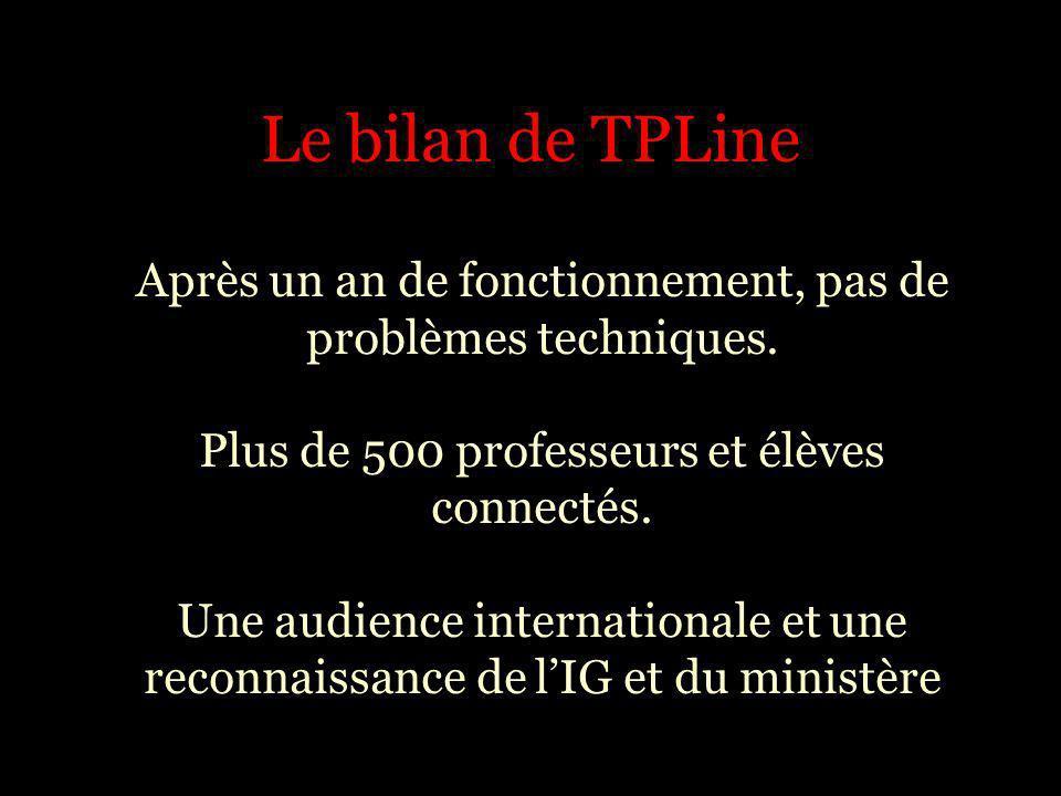 Le bilan de TPLine
