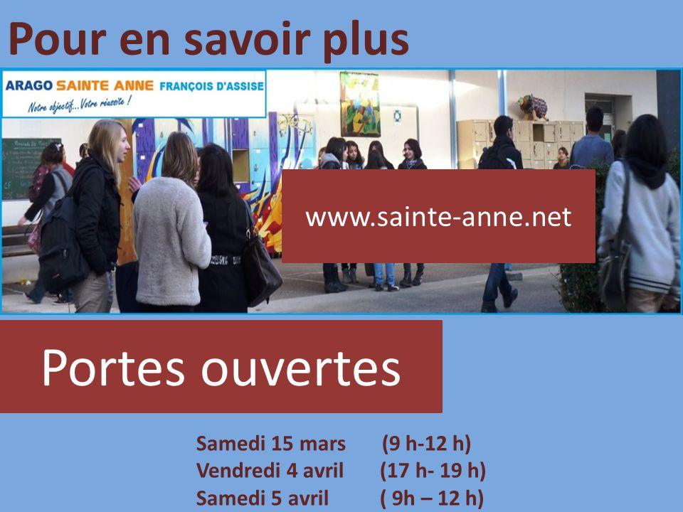 Portes ouvertes Pour en savoir plus www.sainte-anne.net