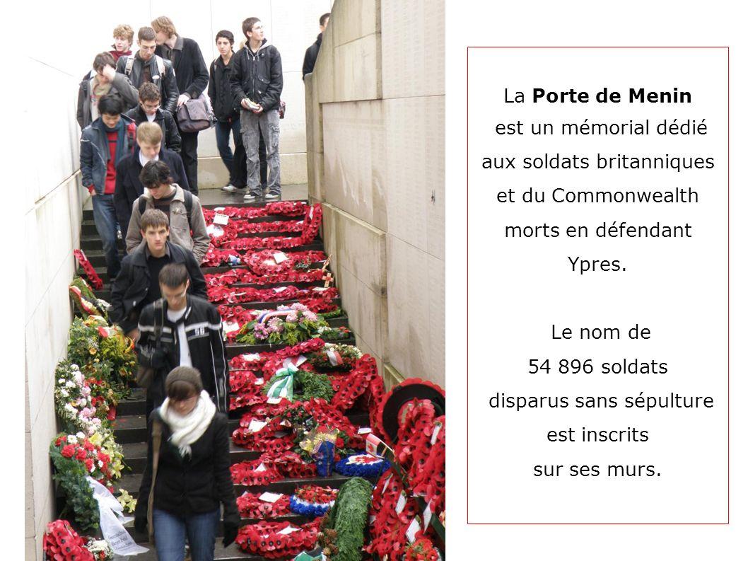 aux soldats britanniques et du Commonwealth morts en défendant Ypres.