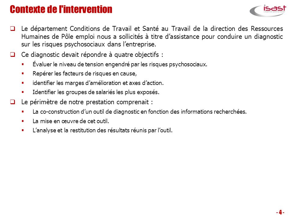 Contexte de l intervention