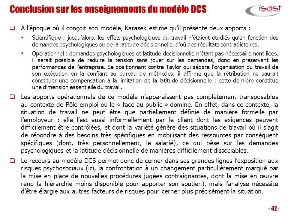 Conclusion sur les enseignements du modèle DCS
