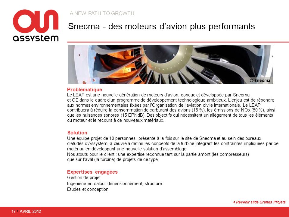 Snecma - des moteurs d'avion plus performants
