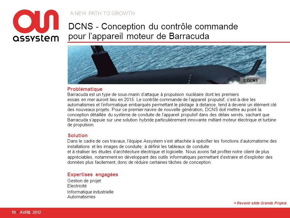 A new path to growth DCNS - Conception du contrôle commande pour l'appareil moteur de Barracuda. © DCNS.