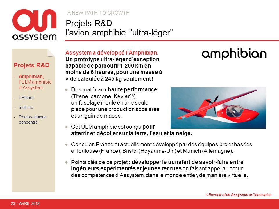 Projets R&D l'avion amphibie ultra-léger