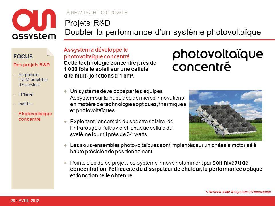 Projets R&D Doubler la performance d'un système photovoltaïque