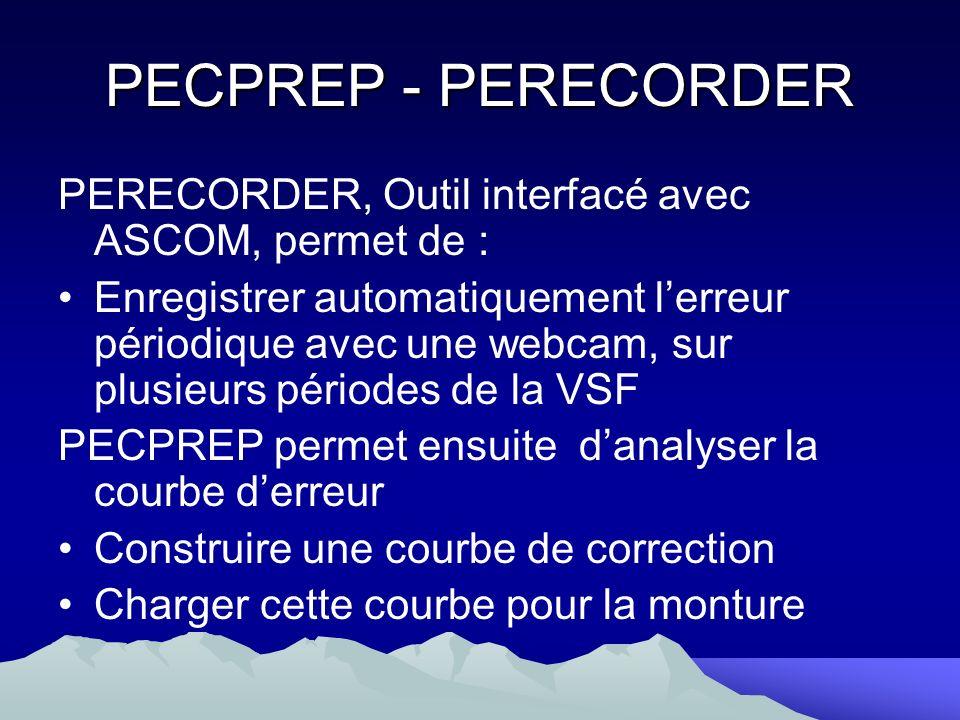PECPREP - PERECORDERPERECORDER, Outil interfacé avec ASCOM, permet de :