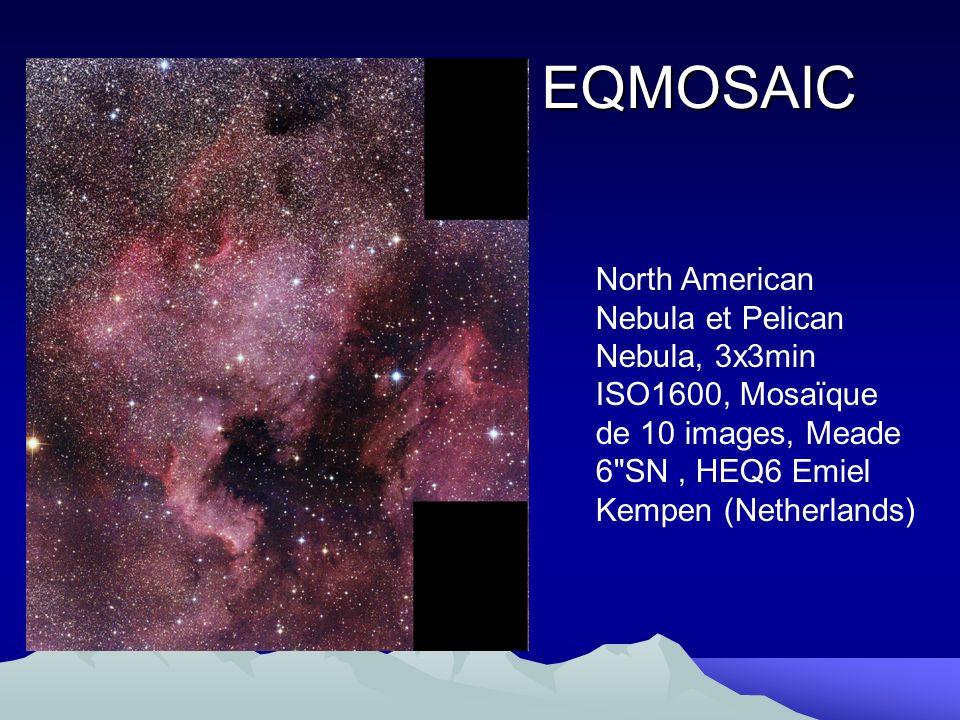 EQMOSAIC North American Nebula et Pelican Nebula, 3x3min ISO1600, Mosaïque de 10 images, Meade 6 SN , HEQ6 Emiel Kempen (Netherlands)