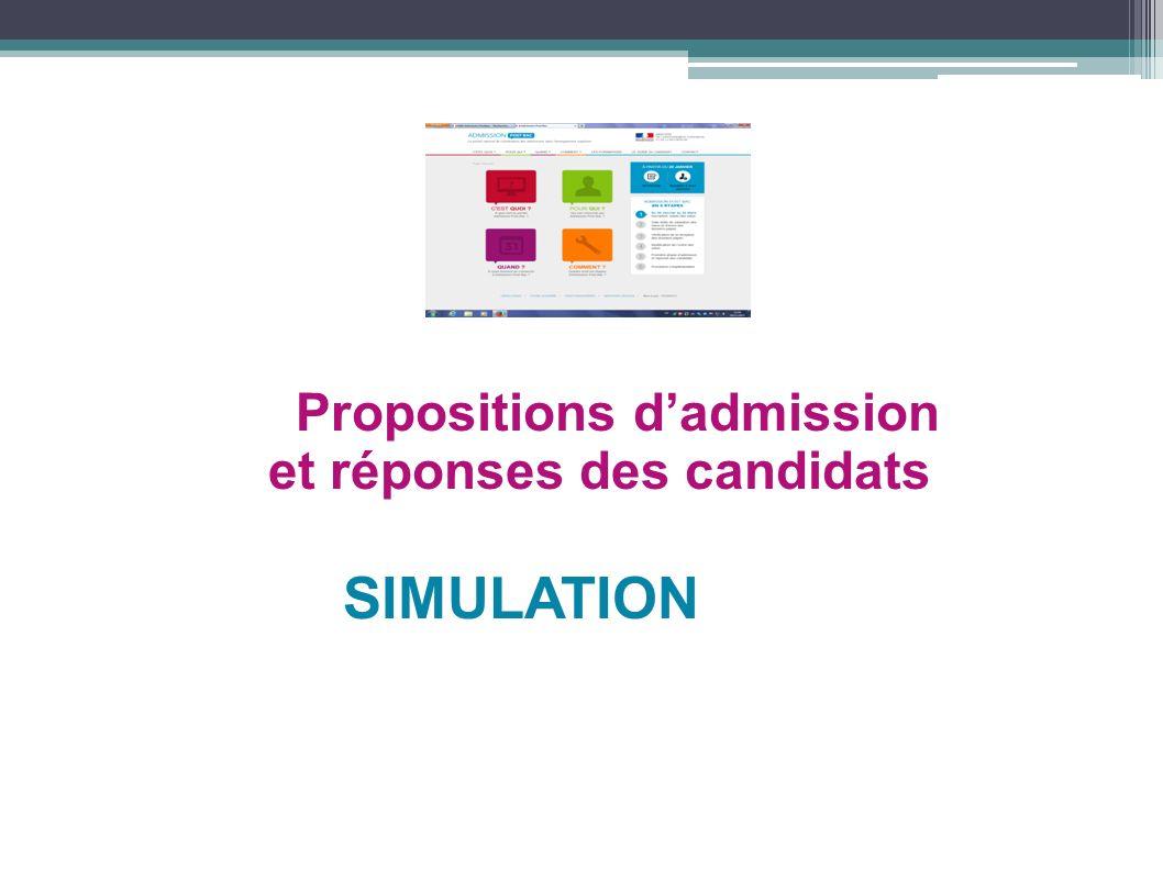 Propositions d'admission et réponses des candidats