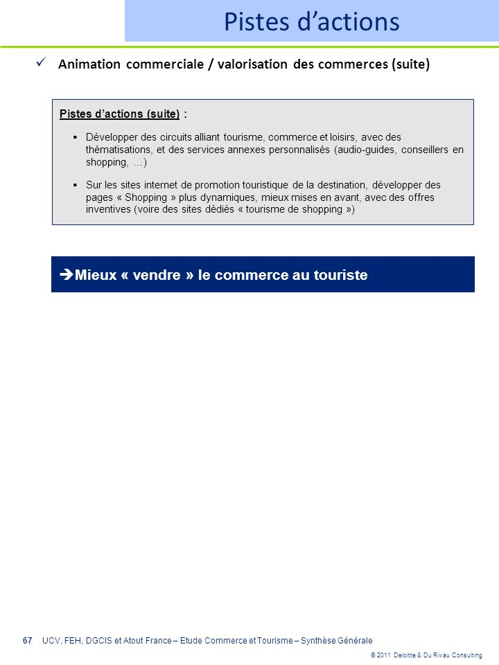Pistes d'actions Animation commerciale / valorisation des commerces (suite) Pistes d'actions (suite) :