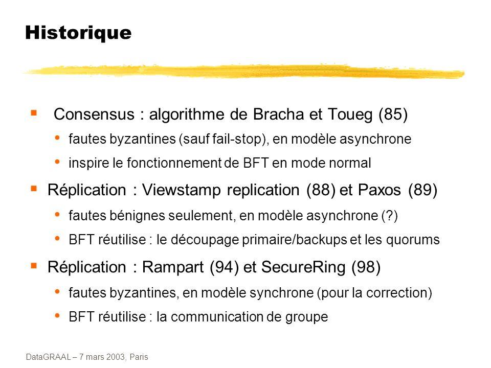 Historique Consensus : algorithme de Bracha et Toueg (85)