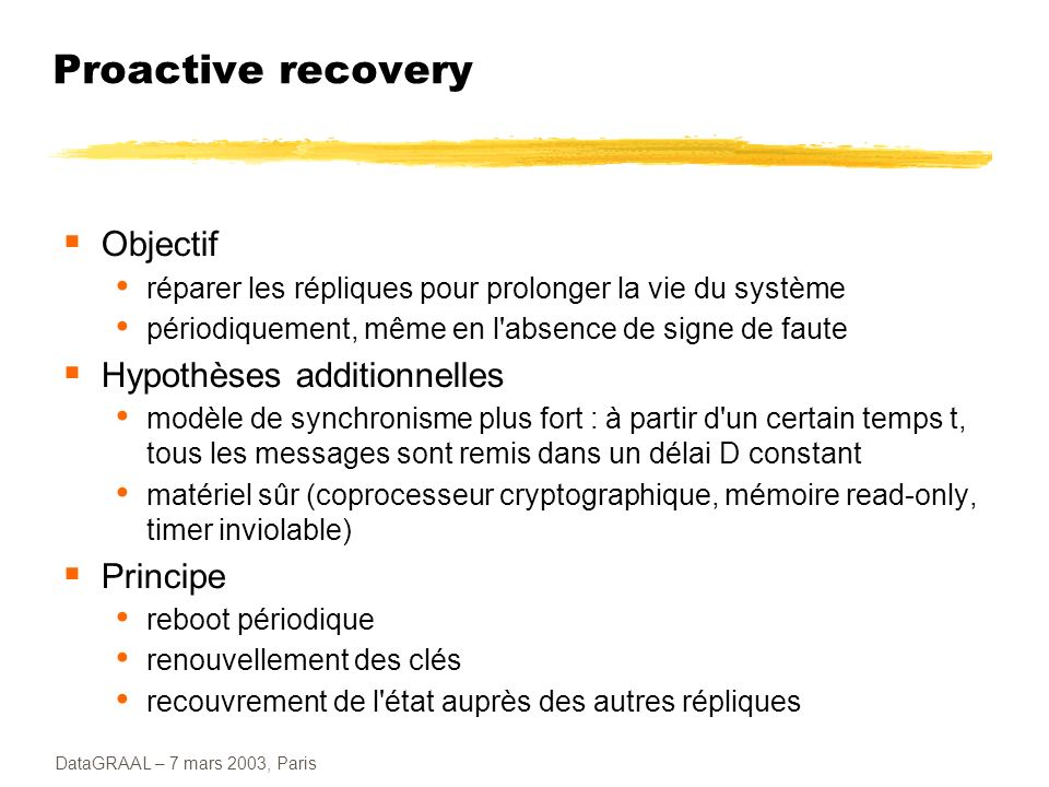 Proactive recovery Objectif Hypothèses additionnelles Principe