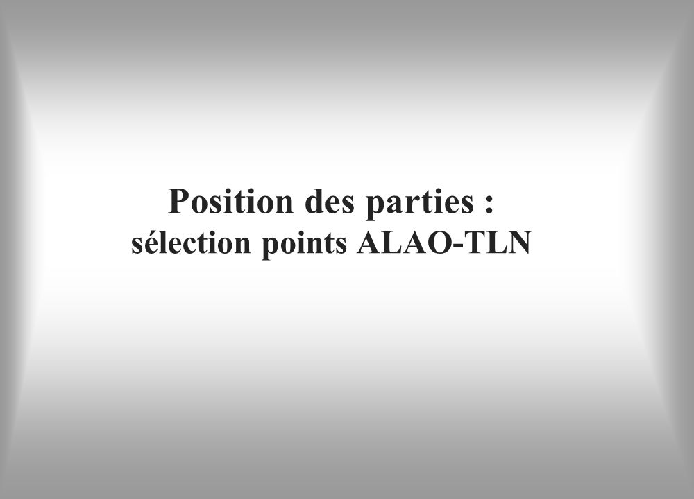 Position des parties : sélection points ALAO-TLN