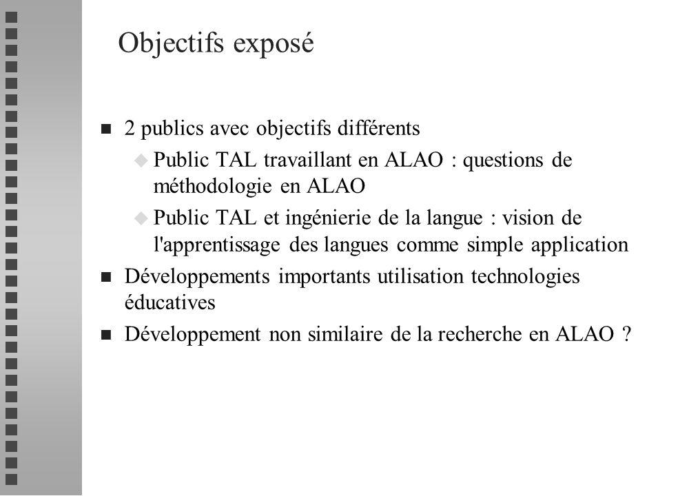 Objectifs exposé 2 publics avec objectifs différents
