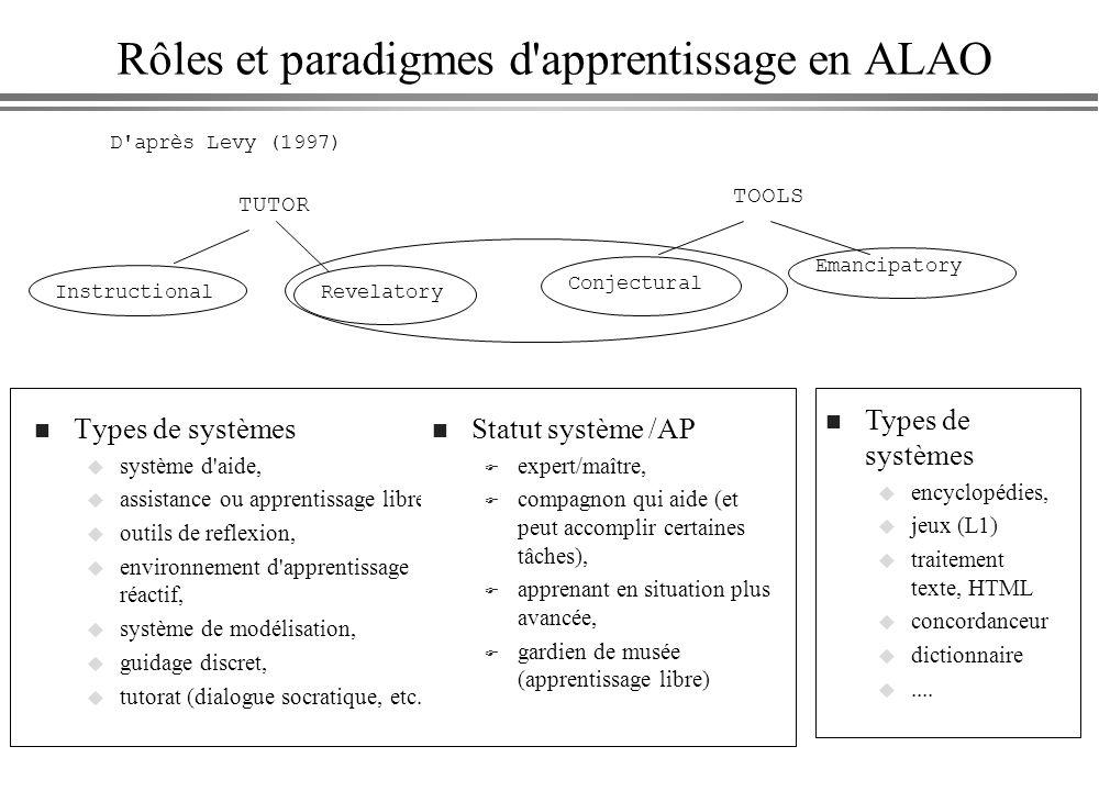 Rôles et paradigmes d apprentissage en ALAO