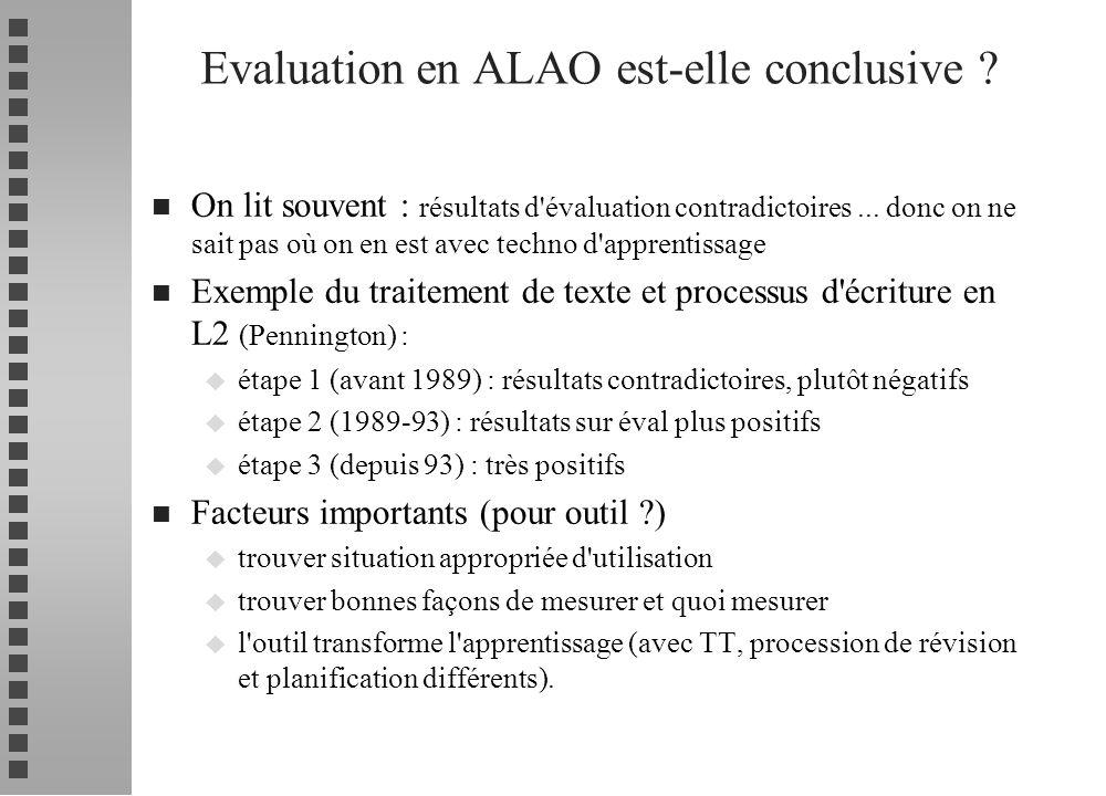 Evaluation en ALAO est-elle conclusive