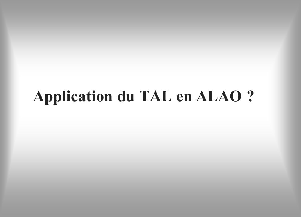 Application du TAL en ALAO