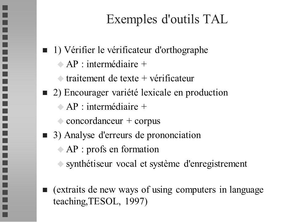 Exemples d outils TAL 1) Vérifier le vérificateur d orthographe