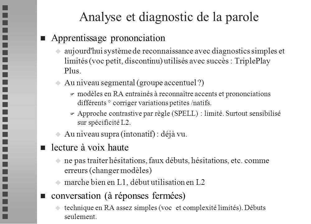 Analyse et diagnostic de la parole