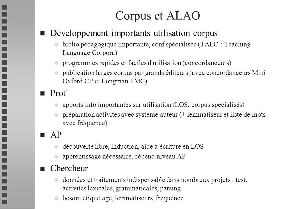 Corpus et ALAO Développement importants utilisation corpus Prof AP