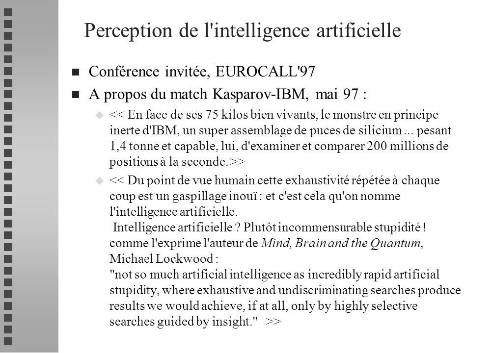 Perception de l intelligence artificielle