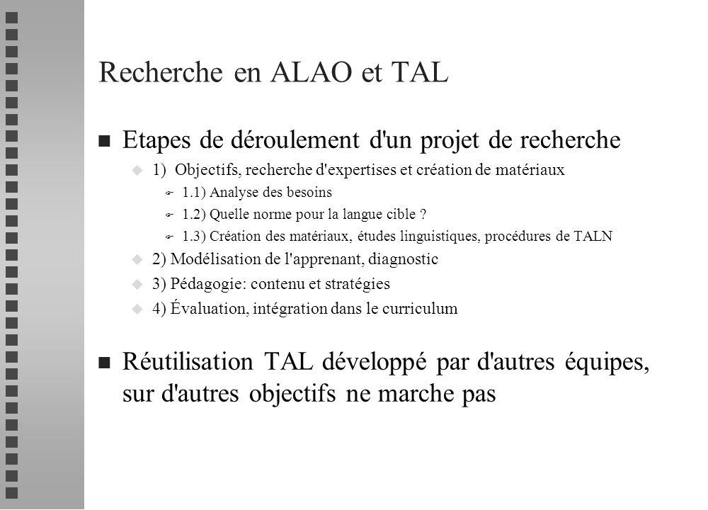 Recherche en ALAO et TAL