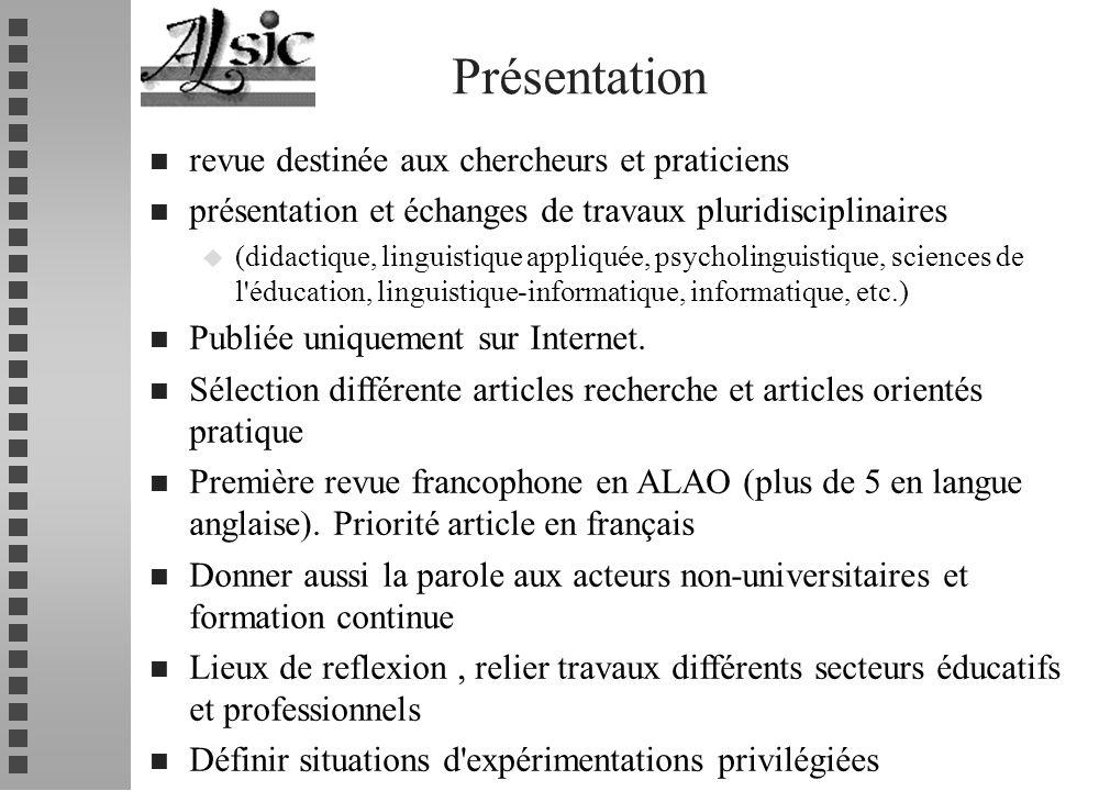 Présentation revue destinée aux chercheurs et praticiens