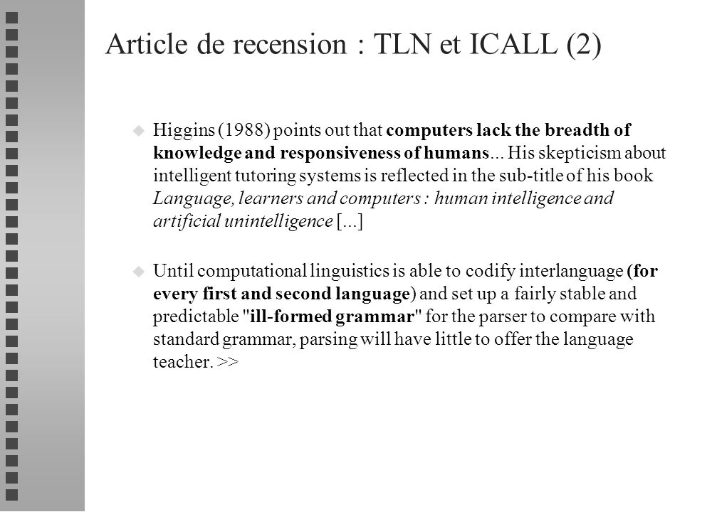 Article de recension : TLN et ICALL (2)